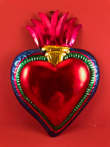 Large Tin Heart with Flame