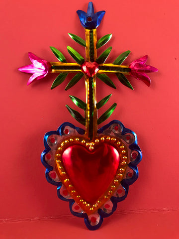 Tin Milagro Heart with Cross