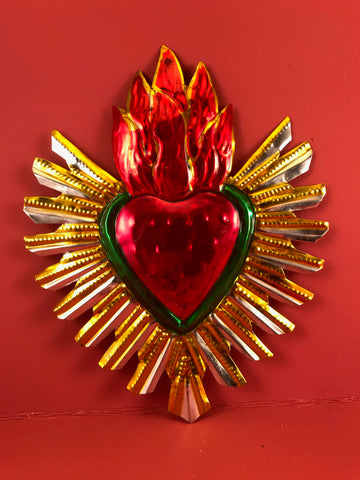 Milagro Tin Heart with Flame