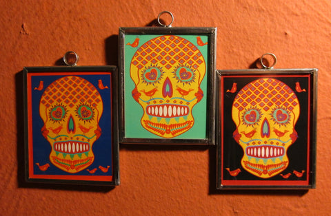Tin Framed Sugar Skull: Birds