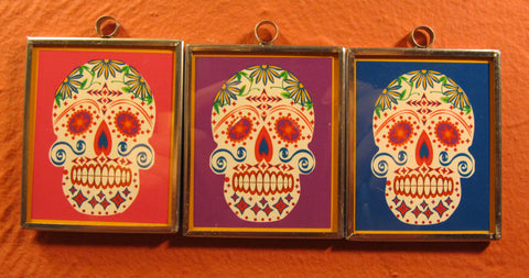 Tin Framed Sugar Skull: Cheeky