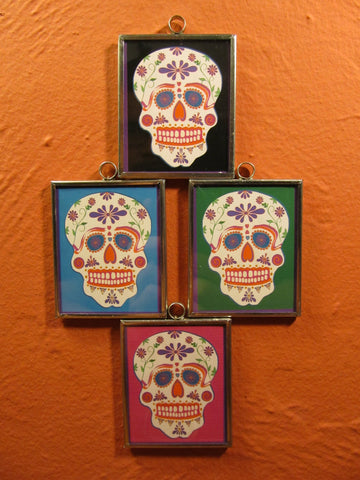 Tin Framed Sugar Skull: Talavera