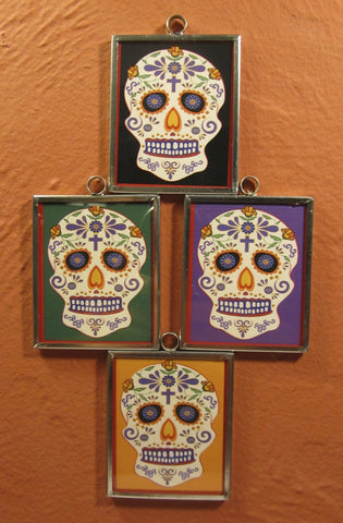 Tin Framed Sugar Skull: Poppies