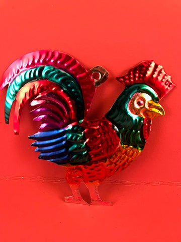 Mexican Tin Ornaments: Rooster