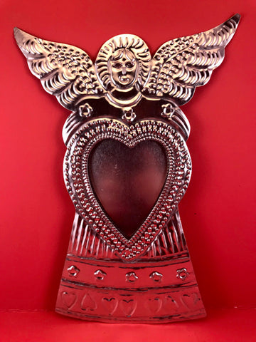 Mexican Tin Ornament: Angel with Mirror