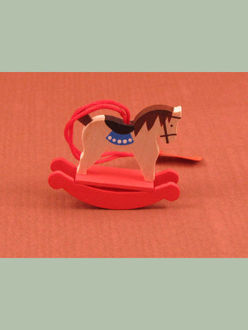 German Christmas Ornament: Tiny Rocking Horse