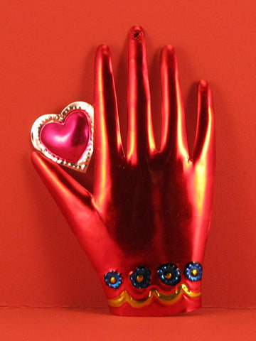 Mexican Tin Heart in Hand Ornaments