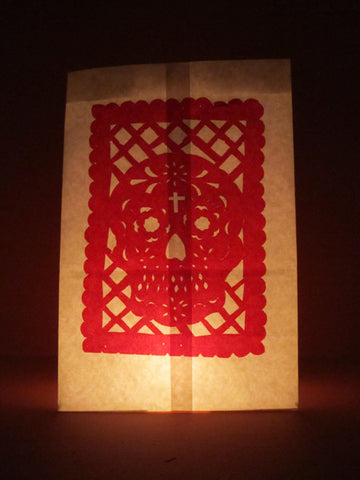 Paper Luminarias with Papel Picado for Dia de Muertos, set of 4