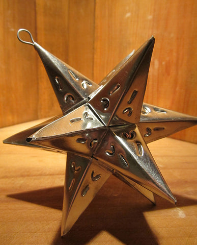 Mexican Tin Ornaments: Moravian Star Container, Small in Silver