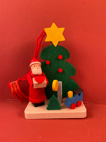 German Christmas Ornament: Tree with Santa