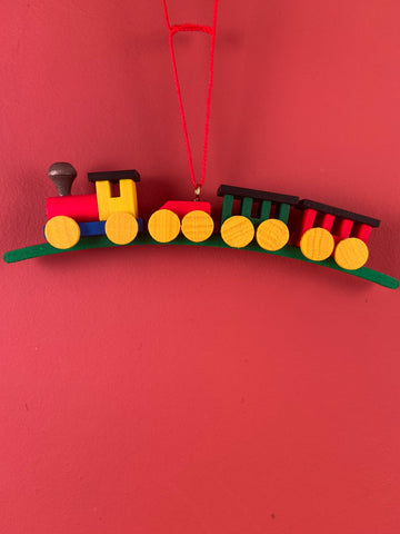 German Christmas Ornament: Train Painted