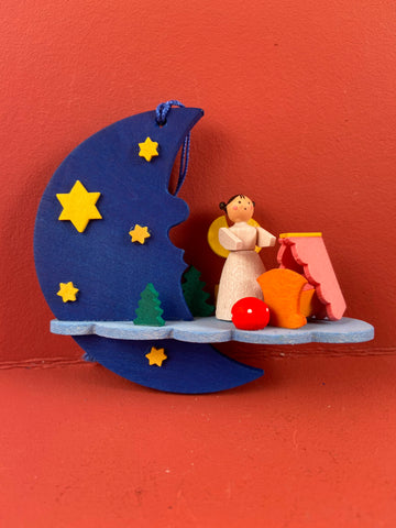 German Christmas Ornament: Angel on Cloud with Cradle