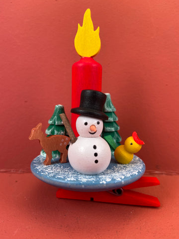 German Christmas Ornament: Candle with Snowman Clip On