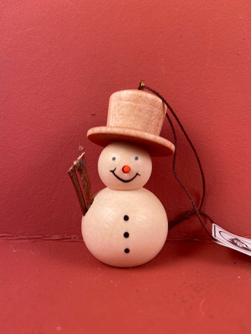 German Christmas Ornament: Snowman Natural