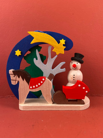 German Christmas Ornament: Snowman with Horse & Sleigh