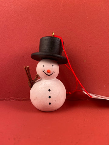 German Christmas Ornament: Snowman Painted