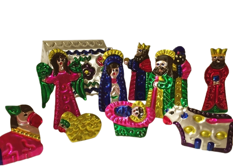 Mexican Tin Nativity in Box, Small