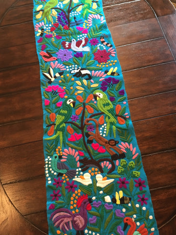 Mexican Otomi Hand Embroidered Table Runner