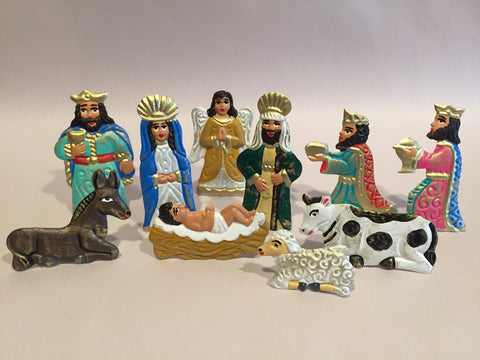 Mexican Tin Nativity in Box, Small, Realistic Color