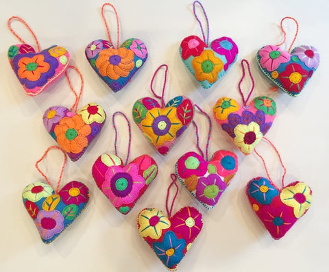 Mexican Hand Embroidered Hearts