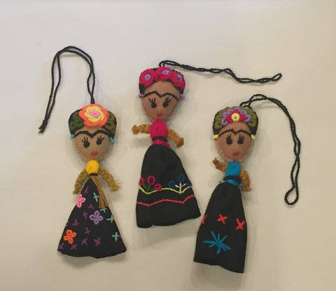 Mexican Embroidered Frida Doll