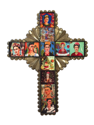 Tin Cross with Frida Tiles, Large