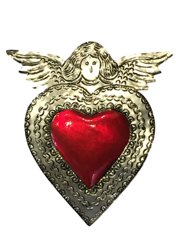 Mexican Tin Large Angel with Painted Red Heart