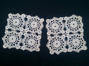 Set of 3 Square and Rectangular Vintage Crocheted Ecru Cotton Lace Doilies