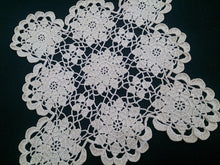 Load image into Gallery viewer, Small Vintage Square Lace Doily. Crocheted Ecru Colour Cotton Lace Doily