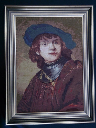 Large Framed Tapestry Picture. Gobelin Portrait of a Young Man