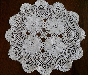 Vintage Round Ivory Crocheted Cotton Lace Doily