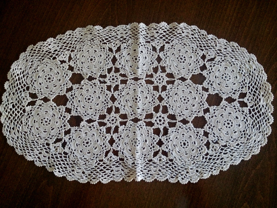 Vintage Crocheted Oval Doily in Ecru Natural Cotton Colour