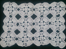 Load image into Gallery viewer, White Vintage Crocheted Rectangular Cotton Lace Doily