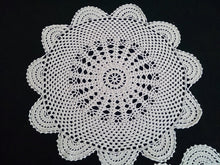 Load image into Gallery viewer, Set of 2 Vintage Round Crocheted Ecru Colour Cotton Lace Doilies