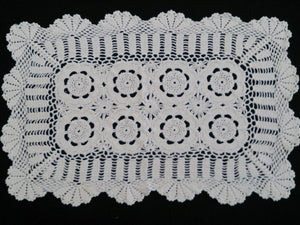 Crocheted Rectangular Vintage Lace Doily or Placemat in Off White/Ivory Colour