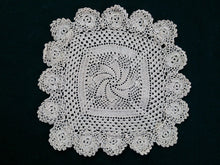 Load image into Gallery viewer, Square Ecru (Natural Cotton Colour) Vintage Pinwheel Pattern Handmade Crocheted Doily
