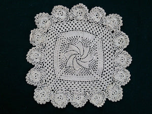 Square Ecru (Natural Cotton Colour) Vintage Pinwheel Pattern Handmade Crocheted Doily