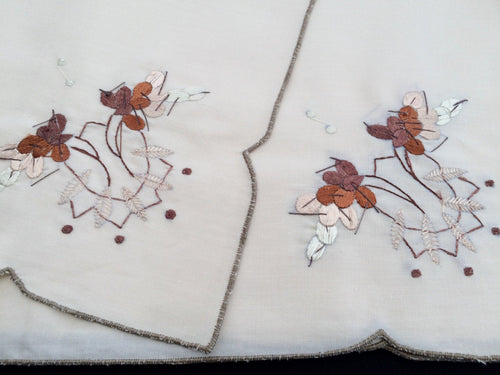 11 Vintage Ivory and Ecru Embroidered Cotton Blend Party Napkins