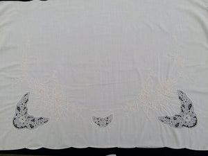 Vintage Embroidered Very Fine Ivory Batiste Linen, Beige Cutwork Floral Table Runner or Kitchen Curtain Panel