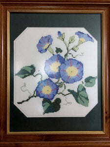 Hand Embroidered Framed Vintage Cross Stitch Picture. Needlework Morning Glory Picture