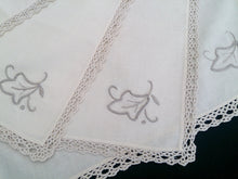 Load image into Gallery viewer, Set of 4 Vintage Ivory and Ecru Embroidered Cotton Linen Napkins with Ecru Coloured Crochet Lace Border (Edging)