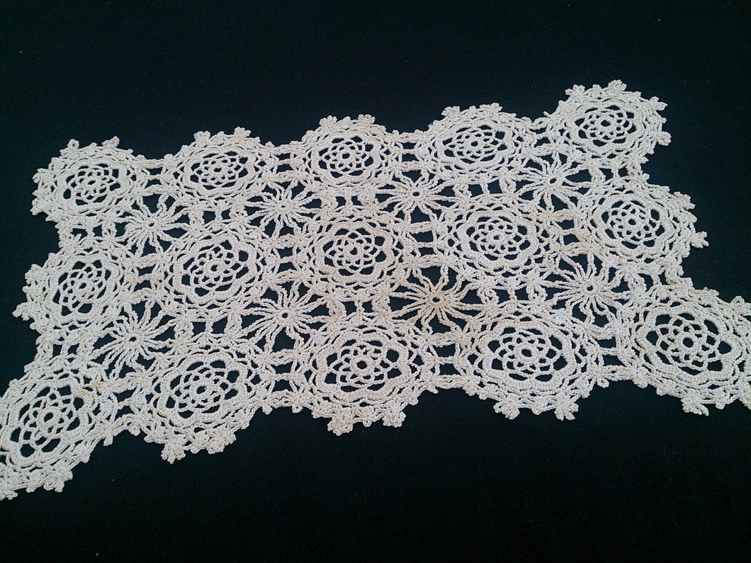 Vintage Crocheted Ecru Cotton Lace Doily or Placemat