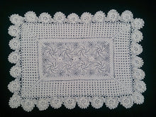 Load image into Gallery viewer, Vintage Crocheted Ecru Cotton Lace Rectangular Doily, Placemat, or Table Runner with Pinwheels