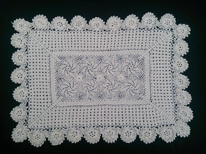 Vintage Crocheted Ecru Cotton Lace Rectangular Doily, Placemat, or Table Runner with Pinwheels