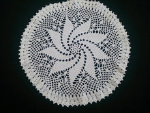 Load image into Gallery viewer, Vintage Round Crocheted Doily. Pinwheel Pattern Small Round Antique Linen White Doily
