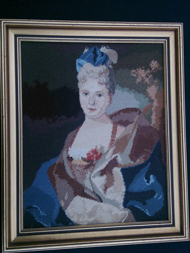 Vintage Tapestry Picture. Framed Gobelin Portrait of a Lady