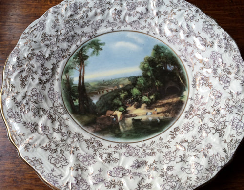 Crossing The Brook Turner Plate by James Kent Longton. Collectible Vintage Decorative Plate. Gold Band, Embossed Gilded Floral Rim