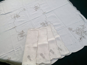 Vintage Ivory and Grey Embroidered Cotton Linen Tablecloth with 4 Matching Napkins
