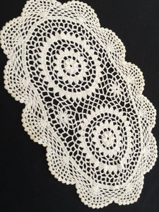 A Pair of Vintage White and Off White Crocheted Cotton Lace Doilies or Placemats