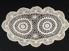 Load image into Gallery viewer, A Pair of Vintage White and Off White Crocheted Cotton Lace Doilies or Placemats